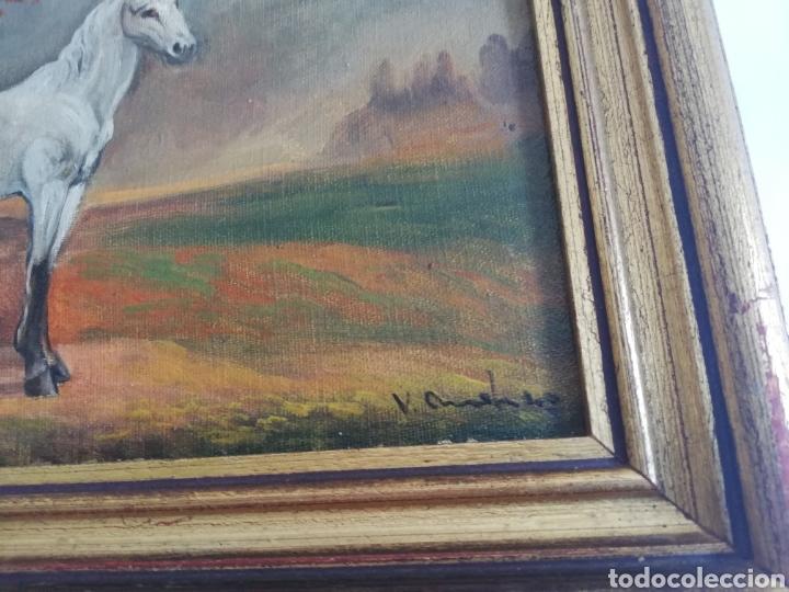 Arte: Pareja cuadros firmado pintura antigua sobre tabla tema caballo y pastora de ovejas con marco dorado - Foto 4 - 143381228