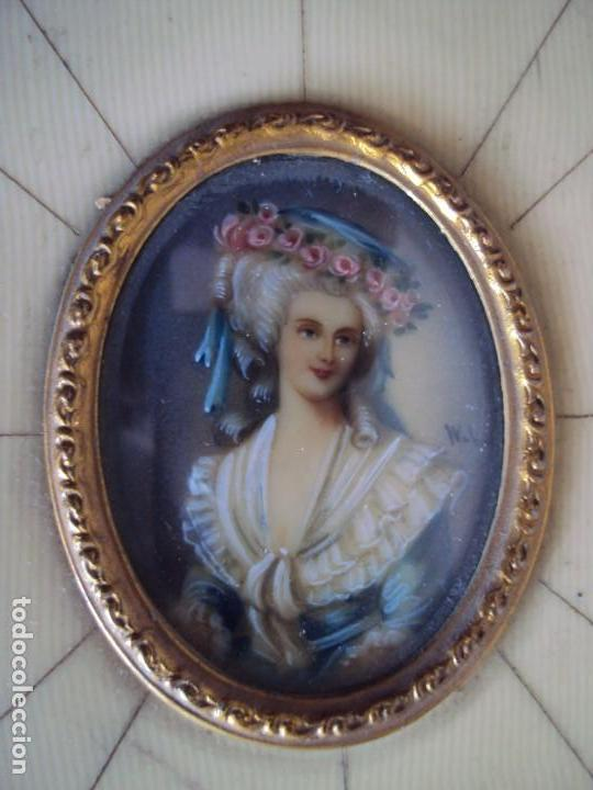Arte: (ANT-181201)MINIATURA DE DAMA PINTADA SOBRE MARFIL MARCO ORIGINAL - FIRMADA - Foto 3 - 143403686