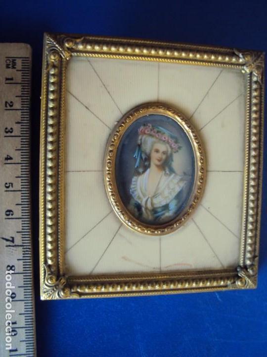 Arte: (ANT-181201)MINIATURA DE DAMA PINTADA SOBRE MARFIL MARCO ORIGINAL - FIRMADA - Foto 4 - 143403686