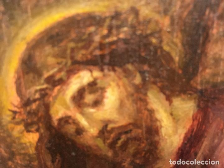 Arte: CRISTO. PEQUEÑO OLEO SOBRE TABLA - Foto 3 - 110198171