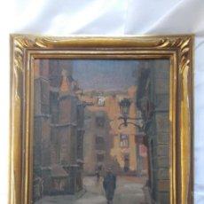 Arte: CHARLES PARDELL (1912-1984). CALLE DE LA CATEDRAL, ÓLEO SOBRE TABLA. DISCÍPULO DE JUSTO ALMELA.. Lote 143537366