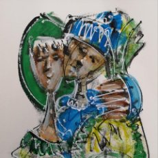 Arte: FERNANDO PEREIRA (A CORUÑA, 1959) PESCADORES. TÉCNICA MIXTA SOBRE CARTULINA. Lote 143582558