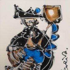 Arte: FERNANDO PEREIRA (A CORUÑA, 1959) GAITEIRO AZUL. TÉCNICA MIXTA SOBRE CARTULINA. Lote 143583706