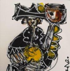 Arte: FERNANDO PEREIRA (A CORUÑA, 1959) GAITEIRO AMARELO. TÉCNICA MIXTA SOBRE CARTULINA. Lote 143583886
