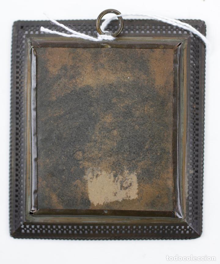 Arte: Miniatura en acuarela, damisela, escuela española siglo XIX, firmado U. K. 6,5x5,5cm - Foto 5 - 143596314