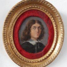 Arte: ÓLEO SOBRE COBRE DEL SIGLO XVII. RETRATO EN MINIATURA DE CABALLERO. Lote 143652118