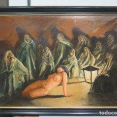 Arte: AQUELARRE. OLEO S/ LIENZO. JOSE MX OTEGUI (MEXICO). 1973. SIGUIENDO MODELOS GOYESCOS. Lote 143712446