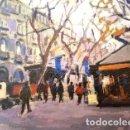 Arte: PINTURA OLEO SOBRE MADERA - RAMBLAS BCN - DE JOSEP MARFA GUARRO - Nº1 C -. Lote 143728950