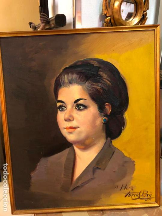 RETRATO OLEO SOBRE TABLA DEL PINTOR RECONOCIDO TORRES BRU - MEDIDA MARCO 55,5X47,5 CM (Arte - Pintura - Pintura al Óleo Contemporánea )