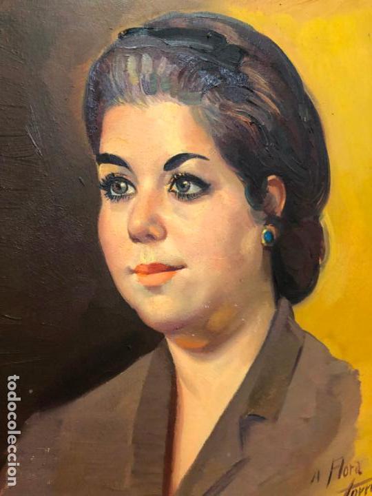 Arte: RETRATO OLEO SOBRE TABLA DEL PINTOR RECONOCIDO TORRES BRU - MEDIDA MARCO 55,5X47,5 CM - Foto 9 - 143740146