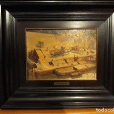 Arte: MUELLE DE CARGA - JOSÉ BARDASANO BAOS (1910 - 1979) - ÓLEO SOBRE TABLA.. Lote 143742650