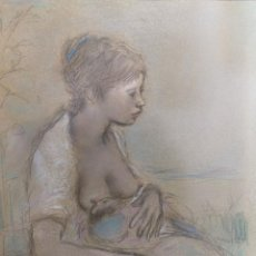 Arte: PREGO DE OLIVER, MANUEL. (OURENSE, 1915-1986) MATERNIDAD. MIXTA SOBRE CARTULINA. Lote 143748546