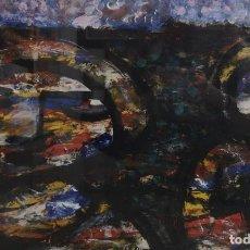 Arte: MERCEDES RUIBAL . (SAN ANDRÉS DE XEVE, 1928 - MADRID, 2003) DOUS MULLERES. TÉCNICA MIXTA SOBRE PAPEL. Lote 143785274