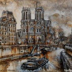 Arte: CLAUDE DUMONT, PRECIOSA PINTURA ORIGINAL VISTA PARIS FIRMADA.. Lote 143837337