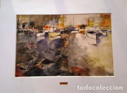 PINTURA ACUARELA - PORT - DE JOSEP MARFA GUARRO DE BARCELONA - D -1- (Arte - Pintura Directa del Autor)