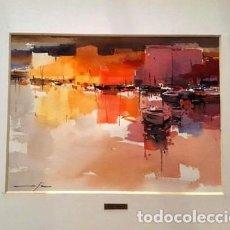 Arte: PINTURA ACUARELA - PORT - DE JOSEP MARFA GUARRO DE BARCELONA - D -1-. Lote 143878078