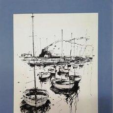 Arte: PINTURA DIBUJO A TINTA PORT LLANÇA ANY 1992 - GRANDE - DE JOSEP MARFA GUARRO DE BARCELONA - D -1-. Lote 143902622