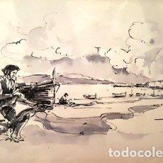 Arte: PINTURA DIBUJO A TINTA PORT LLANÇA ANY 1988 - GRANDE - DE JOSEP MARFA GUARRO DE BARCELONA - D -1-. Lote 143903238
