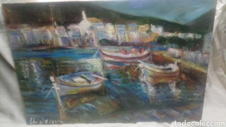 EMBARCADERO EN GRECIA (GRAN MOVIMIENTO Y COLORIDO ) (Arte - Pintura - Pintura al Óleo Contemporánea )