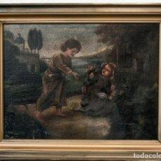 Arte: ANTIKE GEMÄLDE JUNGEN JESUS UND MARIA. SIGNIERT, GERAHMT. Lote 143927574