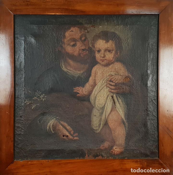 SAN JOSÉ Y EL NIÑO JESUS. ÓLEO SOBRE LIENZO. ESCUELA DE SEVILLA. SIGLO XVIII. (Arte - Pintura - Pintura al Óleo Antigua siglo XVIII)