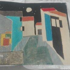 Arte: CUADRO PINTOR CANARIO FRANCISCO LEZCANO TITULADO NOCTURNO AÑOS 50 TECNICA MIXTA EN CARTULINA. Lote 143982694