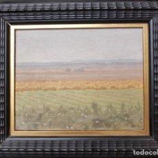 Arte: ANTONIO LÓPEZ TORRES (TOMELLOSO 1902-1987). PAISAJE RURAL MANCHEGO. CAMPO MANCHEGO. OLEO SOBRE TABLA. Lote 144161026