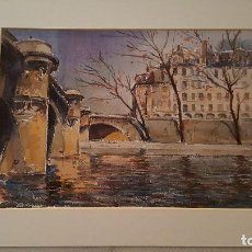 Arte: PINTURA ACUARELA - PARIS -EL SENA - ANY 1967- DE JOSEP MARFA GUARRO BARCELONA - D 2 - GRANDE -. Lote 144170350