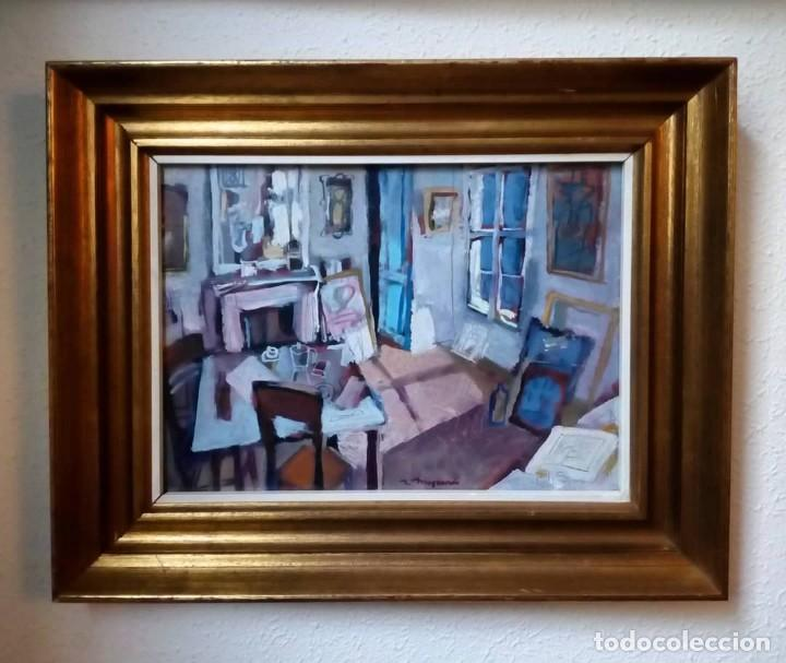 ÓLEO SOBRE CARTÓN DE RAMÓN MOSCARDÓ - ESCENA DE INTERIOR - HABITACIÓN (Arte - Pintura - Pintura al Óleo Contemporánea )