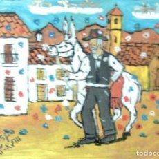 Arte: PLATERO Y YO ,EL ANGELUS, ÓLEO SOBRE MADERA DE 30X40 CM. DE CRESPO. Lote 144296238