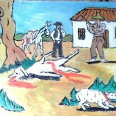 Arte: PLATERO Y YO, EL PERRO SARNOSO, ÓLEO SOBRE MADERA 30X40 CM. DE CRESPO. Lote 144296306