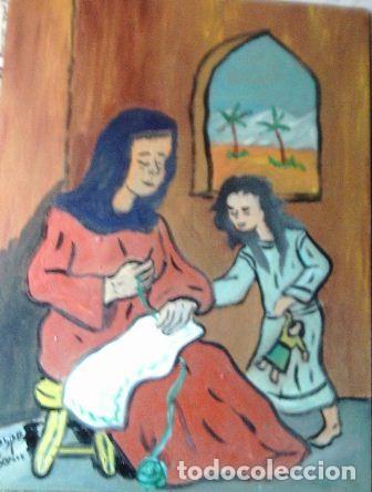 LA VIRGEN Y SANTA ANA,OLEO SOBRE MADERA DE 30X40 CM. DE CRESPO (Arte - Pintura Directa del Autor)