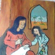 Arte: LA VIRGEN Y SANTA ANA,OLEO SOBRE MADERA DE 30X40 CM. DE CRESPO. Lote 144296522