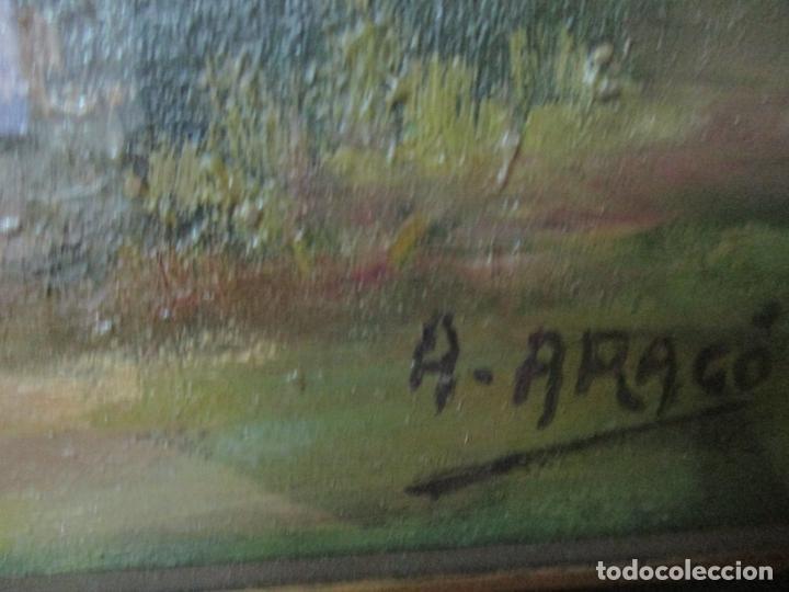 Arte: Óleo sobre Tela - Antonio Aragó (Castellón de la Plana 1883 - Olot 1959) - Paisaje -Escuela Catalana - Foto 5 - 144447370