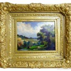 Arte: RICARD MARTÍ AGUILÓ (1858/1935) - OLEO SOBRE CARTÓN - PAISAJE CON FIGURAS - PEQUEÑO FORMATO. Lote 144450198