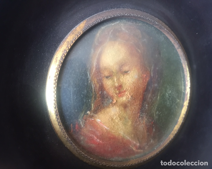 Arte: Miniatura óleo retrato femenino con marco de madera - Foto 2 - 144506564