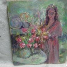 Arte: MUJER JUNTO AL FLORERO (GRAN CALIDAD). Lote 144580178