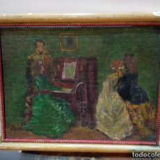 Arte: CUADRO OLEO SOBRE TABLA MUJER TOCANDO PIANO 25 CMS. DE ALTO X 18 DE LARGO. Lote 144652298
