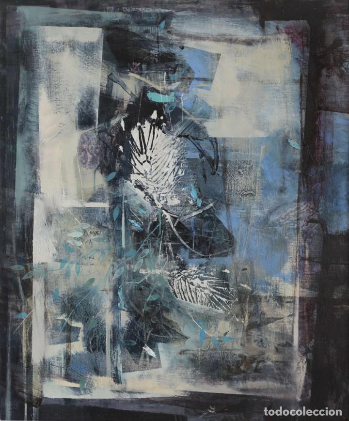 JUSTO SAN FELICES-EXCEPCIONAL OLEO SOBRE LIENZO OBRA-HOJAS BLANCAS-64X53CM LIENZO (Arte - Pintura - Pintura al Óleo Contemporánea )