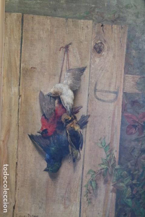 BODEGÓN DE PÁJAROS. LÉOPOLD DYKERS (1860-1921) (Arte - Pintura - Pintura al Óleo Moderna siglo XIX)