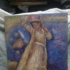 Arte: CHICA JUNTO AL ACANTILADO (GRAN CALIDAD. Lote 144779230