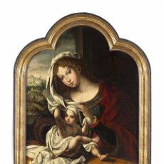 Arte: VIRGEN CON NIÑO ESCUELA FLAMENCA SIGLO XVI POR JAN MABUSE GOSSAERT C.1520. Lote 144966328