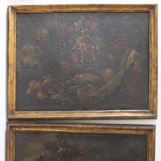 Arte: A-268. PAREJA DE BODEGONES, OLEO SOBRE LIENZO. S.XVIII. ENMARCADOS.. Lote 145096410