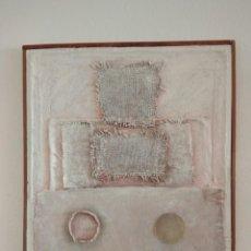 Arte: RECTÁNGULO CON CÍRCULOS. TÉCNICA MIXTA. VICENTE CASTELLANO. 1990.. Lote 145237682