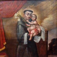 Arte: ÓLEO S/LIENZO -SAN ANTONIO CON EL NIÑO-. FINALES S. XVII, ESCUELA BARROCA ANDALUZA. 119X92 CMS.. Lote 145360038