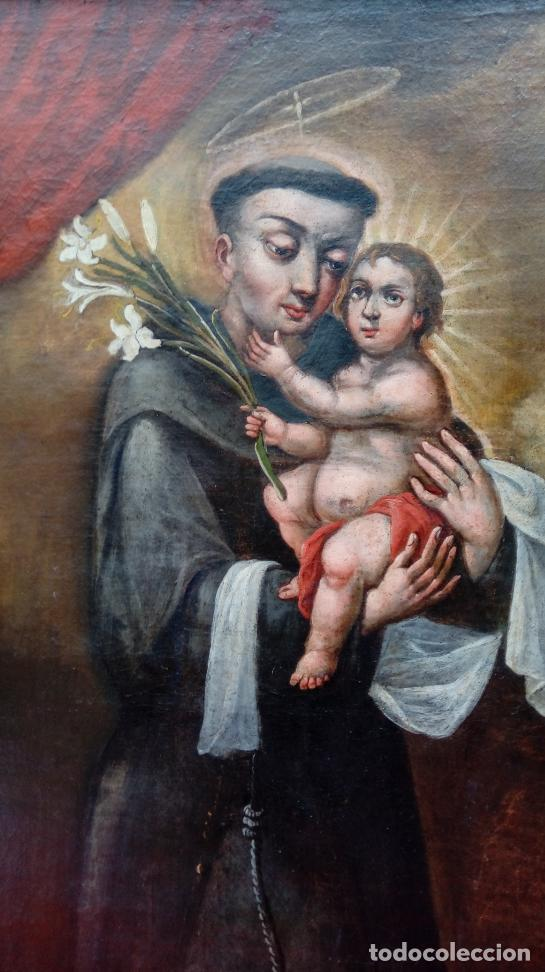 Arte: ÓLEO S/LIENZO -SAN ANTONIO CON EL NIÑO-. FINALES S. XVII, ESCUELA BARROCA ANDALUZA. 119X92 CMS. - Foto 3 - 145360038