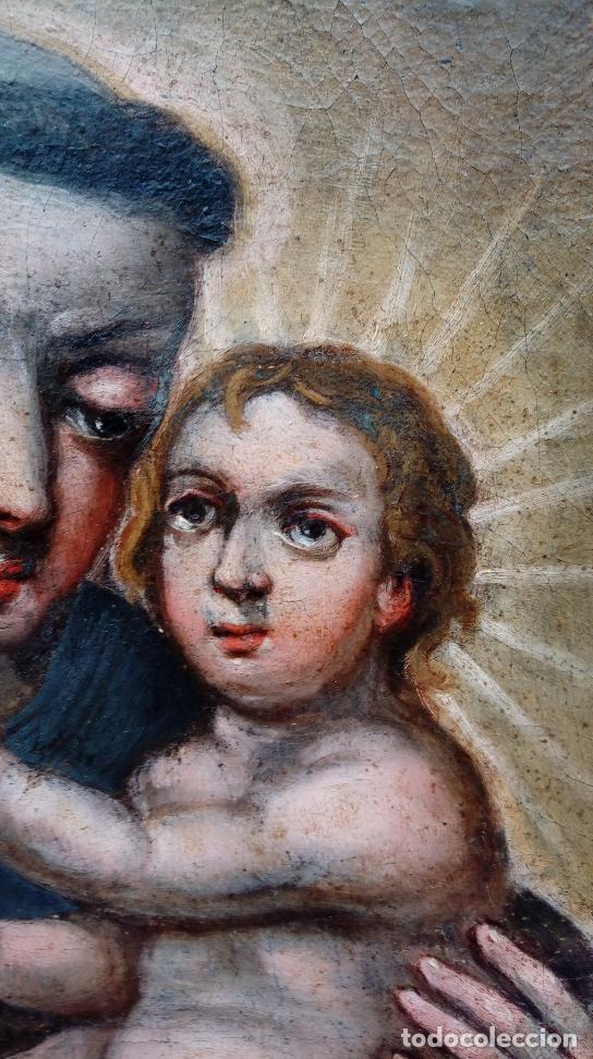 Arte: ÓLEO S/LIENZO -SAN ANTONIO CON EL NIÑO-. FINALES S. XVII, ESCUELA BARROCA ANDALUZA. 119X92 CMS. - Foto 5 - 145360038
