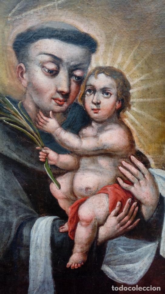 Arte: ÓLEO S/LIENZO -SAN ANTONIO CON EL NIÑO-. FINALES S. XVII, ESCUELA BARROCA ANDALUZA. 119X92 CMS. - Foto 6 - 145360038