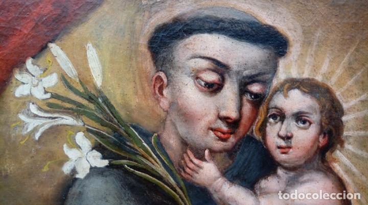 Arte: ÓLEO S/LIENZO -SAN ANTONIO CON EL NIÑO-. FINALES S. XVII, ESCUELA BARROCA ANDALUZA. 119X92 CMS. - Foto 8 - 145360038