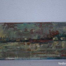 Arte: OLEO SOBRE TABLEX, PUERTO PESQUERO.FIRMADO. Lote 145521926